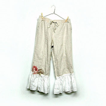 Ruffle Capris, Boho Linen Pants, Shabby Chic Bloomers, Pantaloons, Magnolia PearlStyle, Sustainable Upcycled Clothing