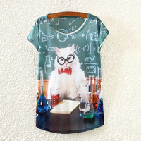 White Short Sleeve Teacher Cat Print T-Shirt