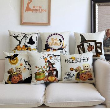 New Happy Halloween Jack-O'-Lantern Pumpkin Vampire Witch Ghosts Pattern Pillow Case Home Sofa Festival Decoration Cushion Cover