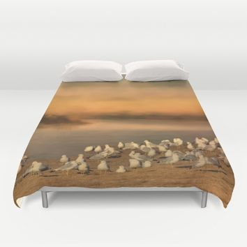 Seagulls On The Beach At Sunset Duvet Cover by Theresa Campbell D'August Art