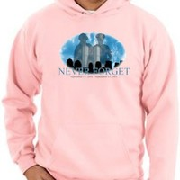 9/11 Hoodie Never Forget Silhouettes Patriotic US Memorial Adult Pink Hooded Sweatshirt Hoody