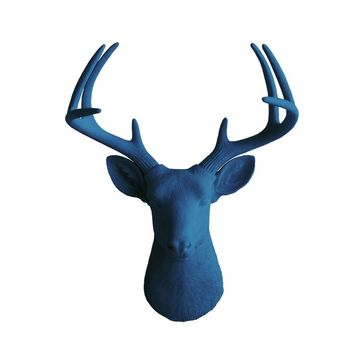 The Virginia | Large Deer Head | Faux Taxidermy | Navy Resin