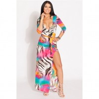 Animal Print Wrap Maxi Dress @ Cicihot sexy dresses,sexy dress,prom dress,summer dress,spring dress,prom gowns,teens dresses,sexy party wear,ball dresses
