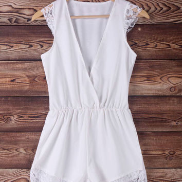 White Lace Sleeveless Romper