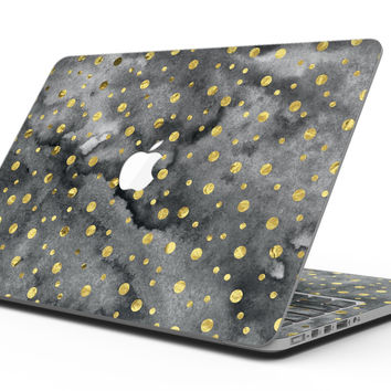 Black and Gold Watercolor Polka Dots - MacBook Pro with Retina Display Full-Coverage Skin Kit