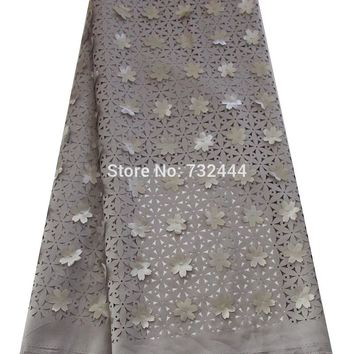 Laser cut 3d lace fabric with flower african lace fabrics nigerian lace fabric for wedding dress