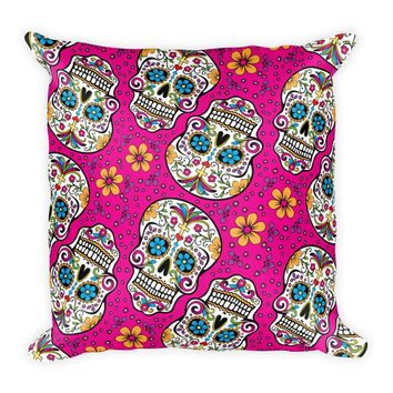 Sugar Skull Day of the Dead HOT PINK Square Pillow