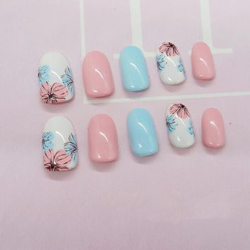 foreverlily 24pcs Summer Candy Flower Stiletto False Nails Tips  Blossom Sky Blue Pink Beach Cute Stylish Simple Arts Acrylic