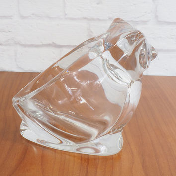 Sasaki Crystal Owl Bowl, Candy Dish or Paperweight / Japanese art glass