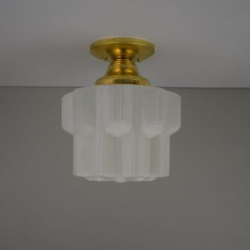 Art Deco Skyscraper Flush Mount Light