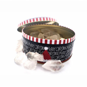 Black Friday Deal Tin of Crystals / Lot Quartz Crystals / Special Gift Wrapped Set / Twin Points Phantom Quartz, Spiritual Metaphysical Gift