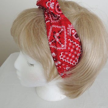 Red Kerchief Print Wire Headband, Twist Scarf, Bandana, Head Band, Twist Head Band,  Hat Band, Head Wrap, Dolly Bow, Hair Tie,  Hair Band