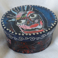Art Trinket Box - Hand Painted - Folk Art Box - Unique Trinket Box - Jewelry Box - OOAK - Keepsake Box - Handmade Jewelry Box - Unique Gift