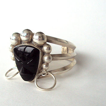 Vintage Bracelet, Sterling Silver and Black Onyx, 1948, Cuff,  Estate, Heirloom, Marked  New LOWER Price          I Take CREDIT CARDS