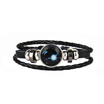 12 Constellations Faux Leather Bracelet Unisex's Braided Bangle A