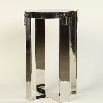 Flat Steel Side Table with Hardware Drops