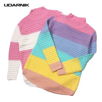 Women Lolita Girls Sweet Jumper Sweater Turtleneck Rainbow Color Striped Pink Loose Knitted Pullover Top 200-A459