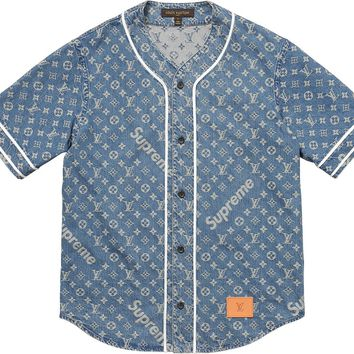 Supreme x Louis Vuitton Baseball Jersey - Denim