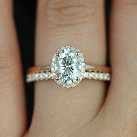 Celeste 14kt Rose Gold Oval FB Moissanite and Diamond Pave Halo Wedding Set (Other metals and stone options available)