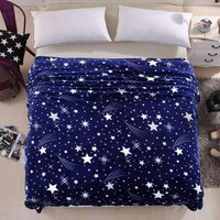 Arrival Soft Flannel Blanket To On For The Sofa Bed Textile Cute Plush Wool Fluffy Blue