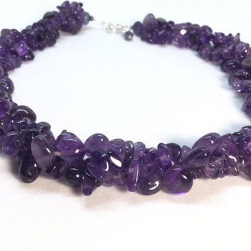 Amethyst Necklace Sterling  Silver Amethyst Beaded Triple Strand Necklace Twisted Torsade Necklace 18 inches long Free Form Beads