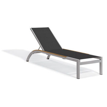Oxford Garden Argento Armless Chaise Lounge Powder Coated Aluminum Frame Titanium