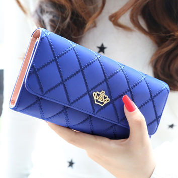 new fashion woven type wallets diamond lattice metal crown women long wallet multifunction