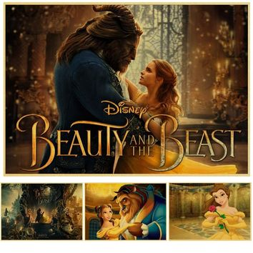 vintage poster Beauty and Beast kraft paper poster for wall pictures living room house cafe bar wall art decor wall sticker