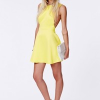 Missguided - Marenna Yellow Backless Skater Dress