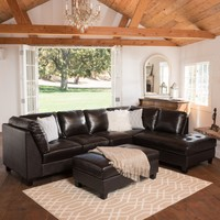 Grandview Dark Brown Leather Sectional Sofa & Ottoman