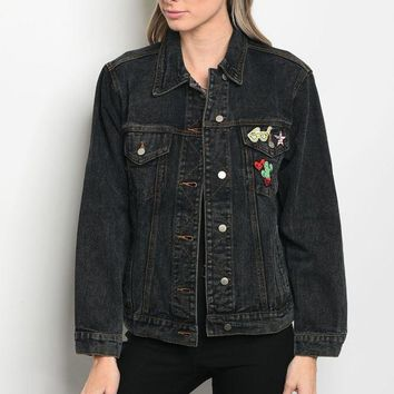 denim boyfriend fit jacket that features a collard neckline and pin details
