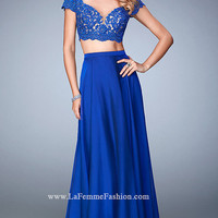 Long Short Sleeve Sweetheart Two Piece La Femme Prom Dress