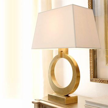 Gold Edison Table Lamps With Rectangular Fabric Shade