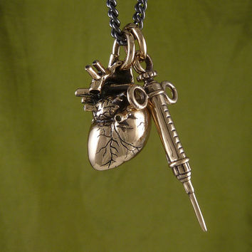 "Anatomical Heart and Syringe Necklace Bronze Pendant on 24"" Gunmetal Chain"