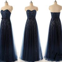 Sweetheart Strapless A Line Wedding Party Dress Elegant Long Navy Blue Lace Prom Dresse Formal Evening Dresses 2014 Bridesmaid Dress