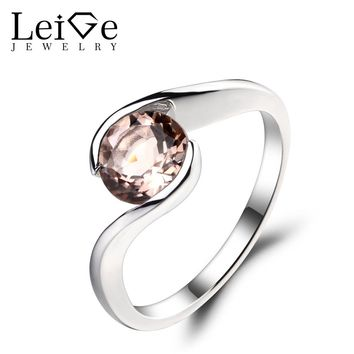Leige Jewelry 1.3ct Natural Morganite Solid 925 Sterling Silver Ring Pink Gemstone Promise Wedding Rings Gifts for Women