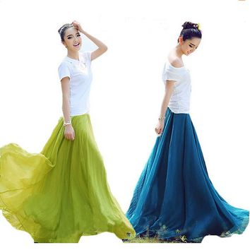 Vintage high waist chiffon skirt women fashion maxi skirt