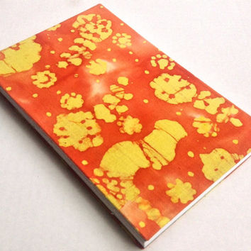Tie-dye yellow and orange-red cloth journal with 80 blank pages 5.5X8.5