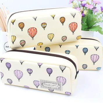 Colorful Hot Air Balloon Leather Pencil Bag Stationery Storage Organizer Bag School Supply Student Prize