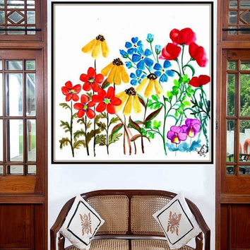 Spring wild flowers watercolor painting wall art print poster decor corn poppy nursery floral inspire colorful square abstract whimsical