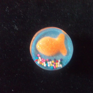 Gold Fish Bowl Candy Resin Magnet Handmade