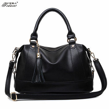 Sac A Main 2016 Women New Fashion Bowling Bag Spring PU Leather Woman Shoulder Bag Large Casual Tote Tassel Bags Soft Neverfull