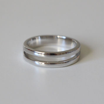 Sterling Silver Double Banded Midi Ring