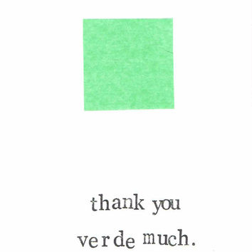 Thank You Verde Much Card Funny Minimalist Modern Geometric Green Simple Design Humor Pantone Color Hipster Art Pun Thanks Notes Stationery