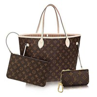 Louis Vuitton Monogram Canvas Beige Neverfull MM M40995 Two piece And Key pouch-Coin purse
