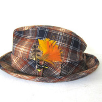 Mens Vintage Plaid wool Pendleton Fedora Hat with feather