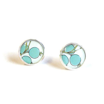 Tiny stud earrings mint green flowers earrring studs ear post choose your size