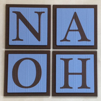 Baby Boy Nursery, Name Wall Letters Room / Wall Decor, 6 x 6 BLUE and BROWN Personalized Wooden Plaques for NOAH, Customized Kids Gift Ideas