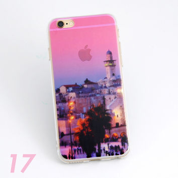 Beautiful City Dawn Sunrise Scenery Print Soft TPU Transparent Phone Back Case Cover Shell For iPhone 5 5S 6 6s 6 Plus 6s Plus 7