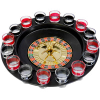 Evelots Drinking Game Glass Roulette W/ 2 Balls & 16 Shot Glasses, Casino Style